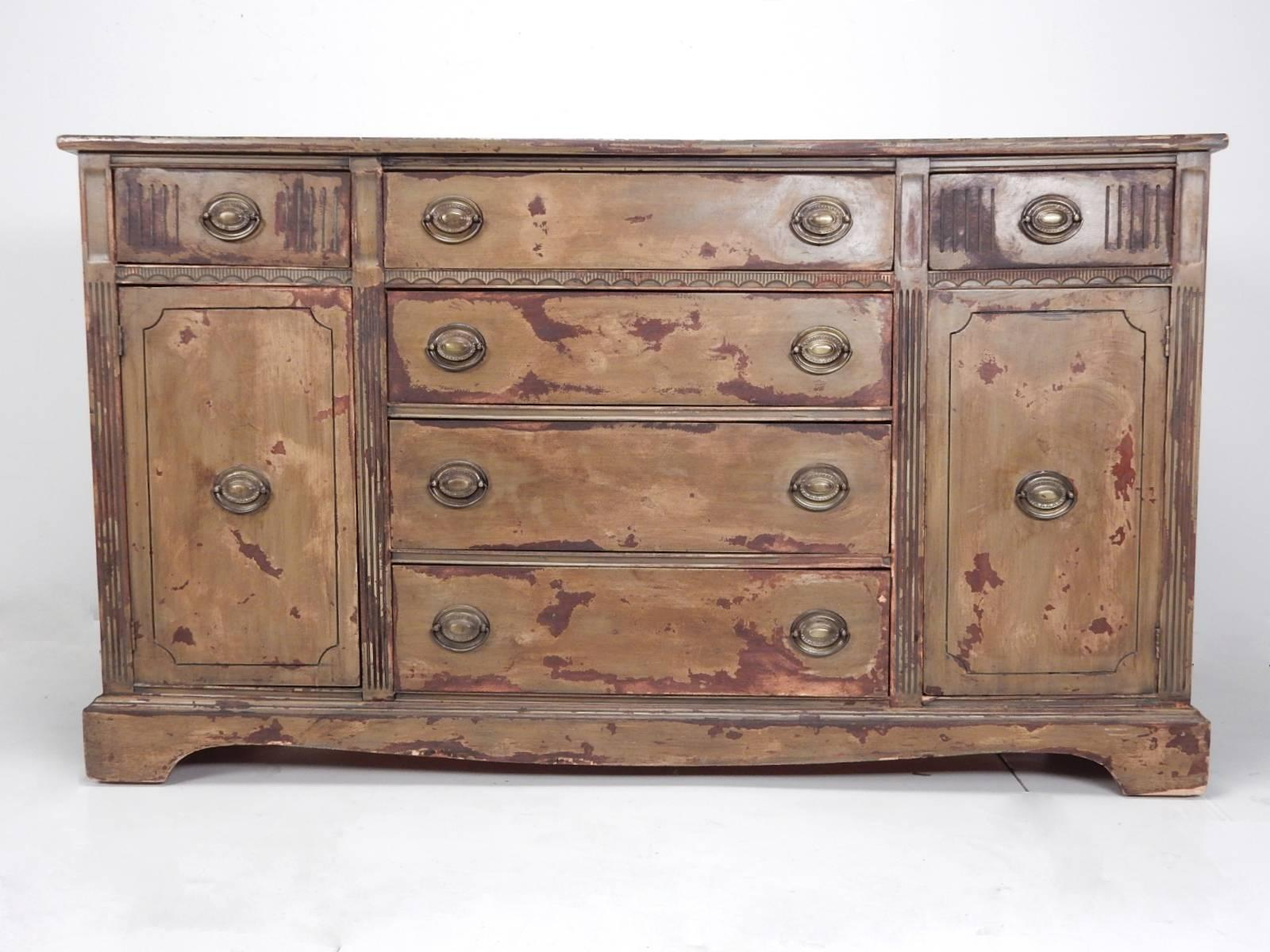 Impressive And Unique Painted Buffet Chest By Duncan Phyfe. Double Cabinet  With Six Drawers For