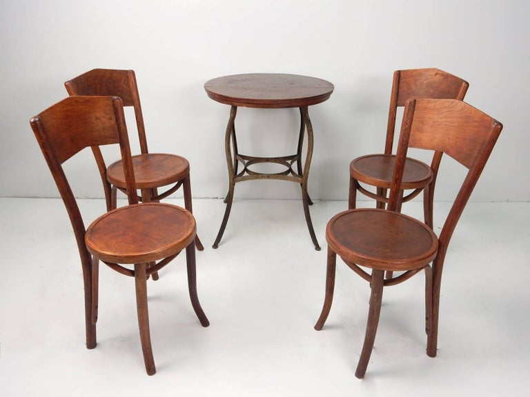 Depression Era Bentwood Cafe Bistro Table And Four Chairs