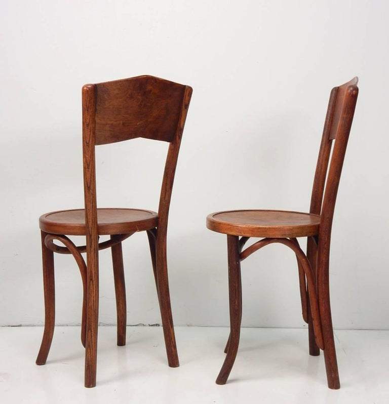 Cafe Furniture For Sale: Depression Era Bentwood Cafe Bistro Table And Four Chairs