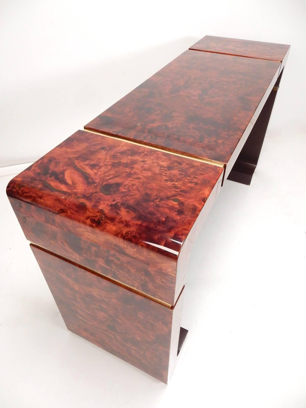 Mid Century Lacquered Burl Wood And Brass Console Hall Table For Sale 1