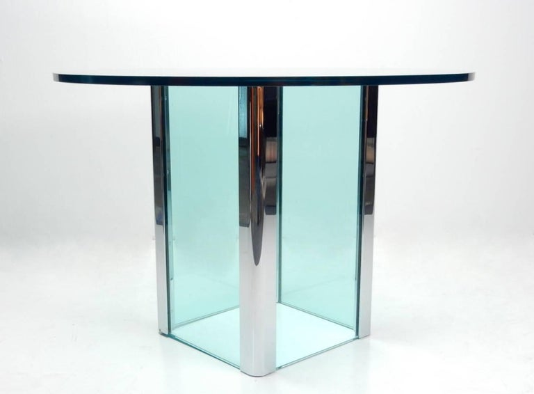 Foyer Table Base : S leon rosen for pace glass and chrome foyer table