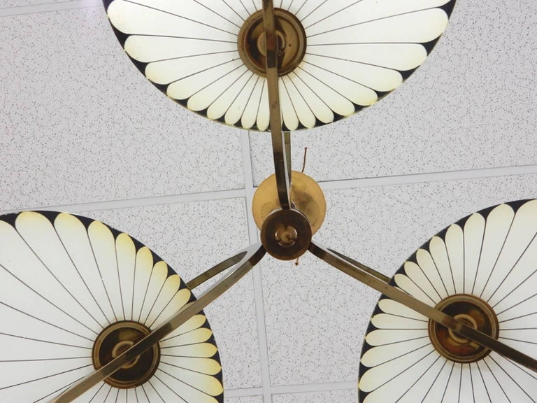 French Art Deco Glass Palm Leaf Chandelier 2
