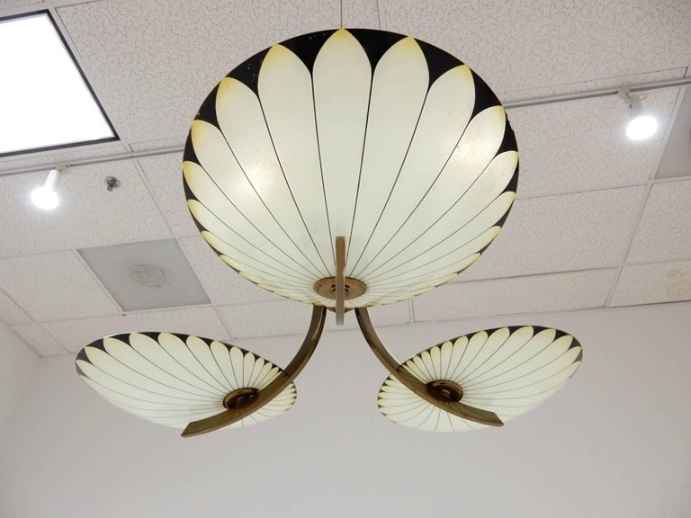 French Art Deco Glass Palm Leaf Chandelier 4