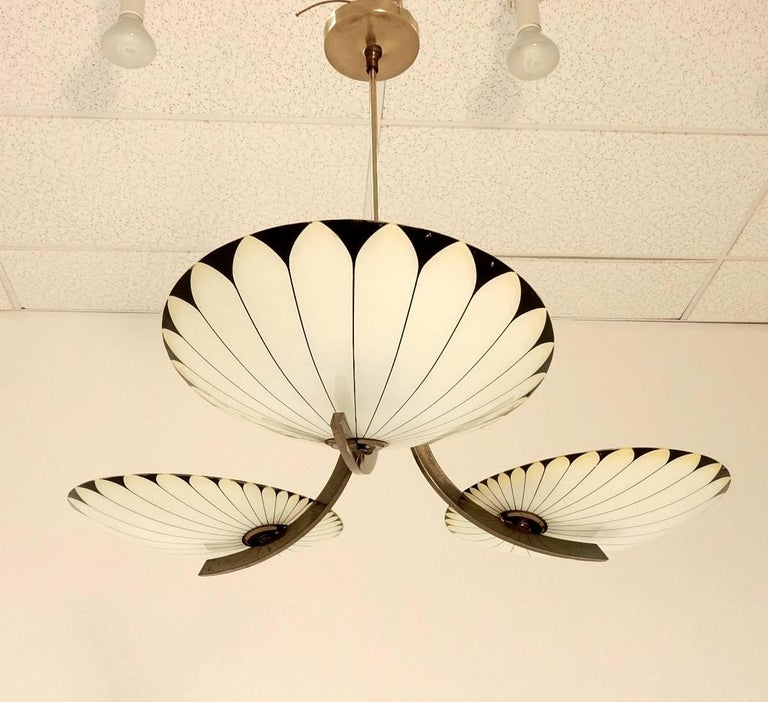 French Art Deco Glass Palm Leaf Chandelier 6