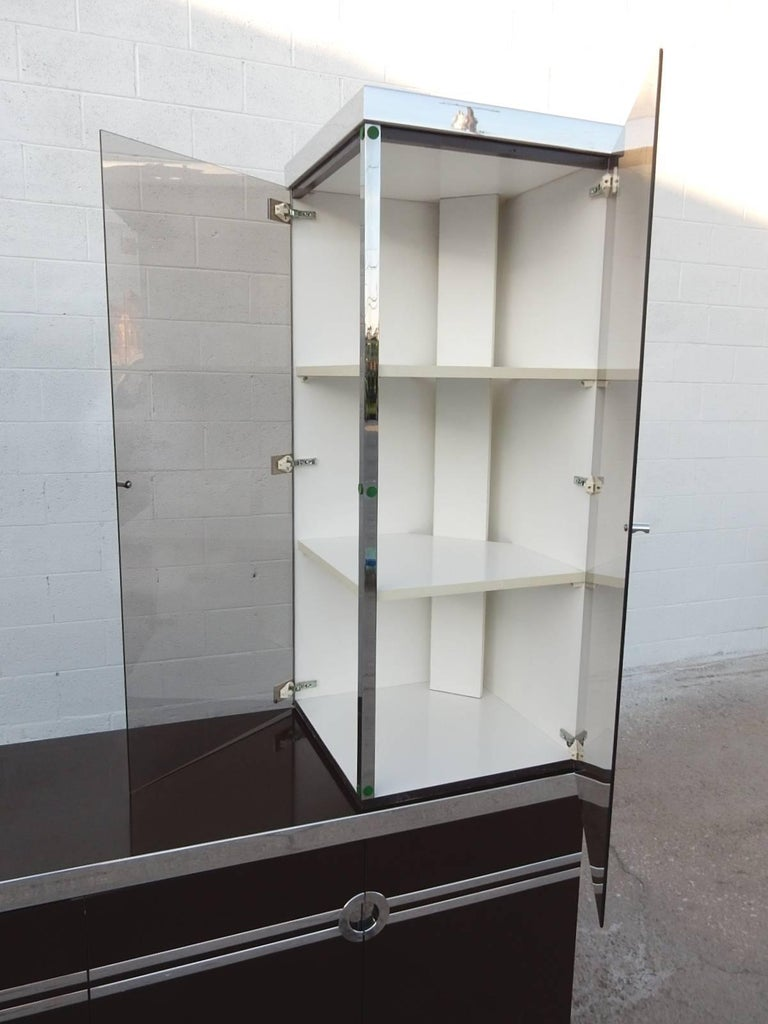 Designer Pierre Cardin Buffet Bar Cabinet Signed, circa 1970s In Good Condition For Sale In Las Vegas, NV