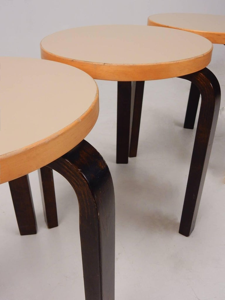 Alvar Aalto For Artek Finland Stacking Stools Model 60 For
