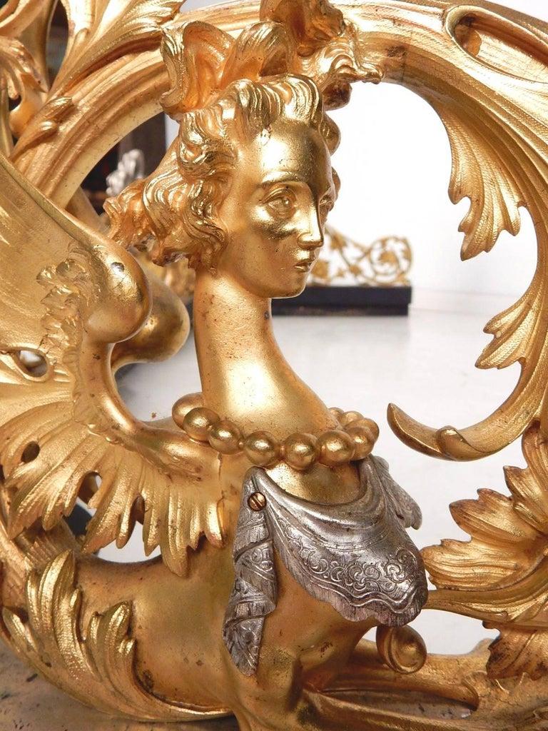 19th Century Italian Gilded Bronze Fireplace Fender by Giuseppe Speluzzi Milano For Sale 1