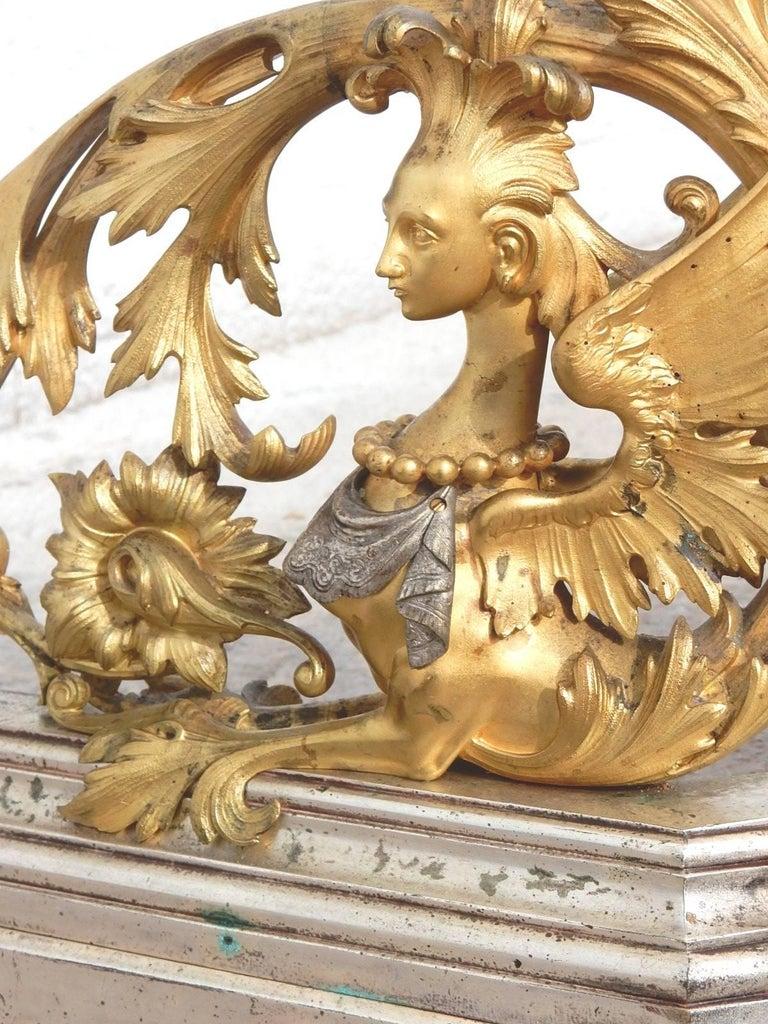 19th Century Italian Gilded Bronze Fireplace Fender by Giuseppe Speluzzi Milano For Sale 3