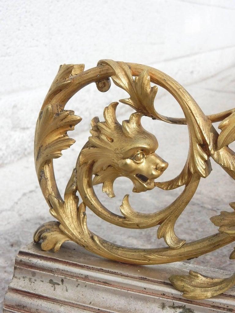 19th Century Italian Gilded Bronze Fireplace Fender by Giuseppe Speluzzi Milano For Sale 4