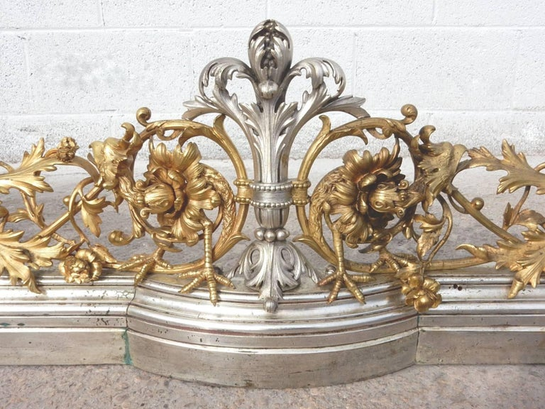 Baroque 19th Century Italian Gilded Bronze Fireplace Fender by Giuseppe Speluzzi Milano For Sale