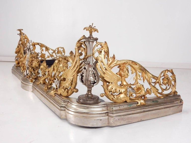 Mid-19th Century 19th Century Italian Gilded Bronze Fireplace Fender by Giuseppe Speluzzi Milano For Sale