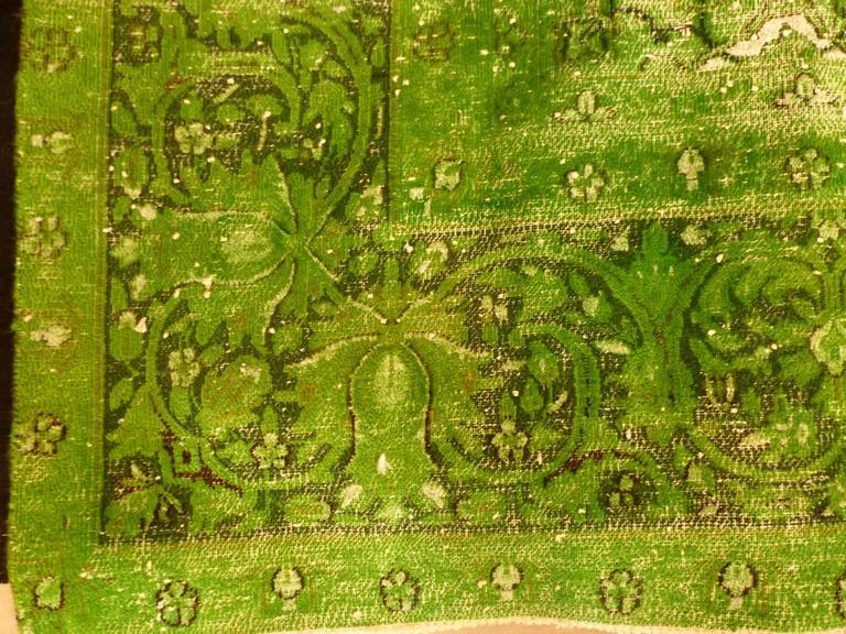Rug Green Chlorophyll  Vintage Carpet Oversized Large Redyed Circa 1970 3