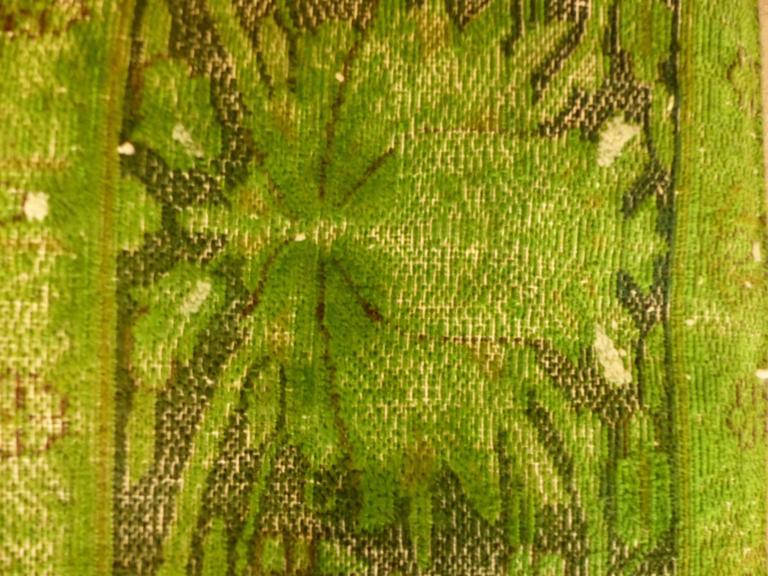 Rug Green Chlorophyll  Vintage Carpet Oversized Large Redyed Circa 1970 5