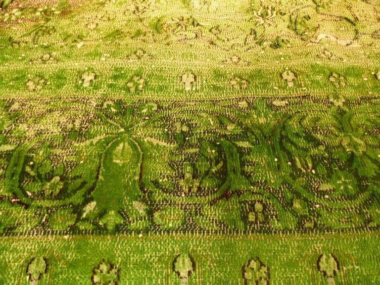 Rug Green Chlorophyll  Vintage Carpet Oversized Large Redyed Circa 1970 6