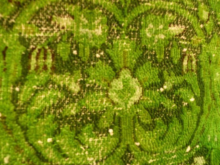 Rug Green Chlorophyll  Vintage Carpet Oversized Large Redyed Circa 1970 7