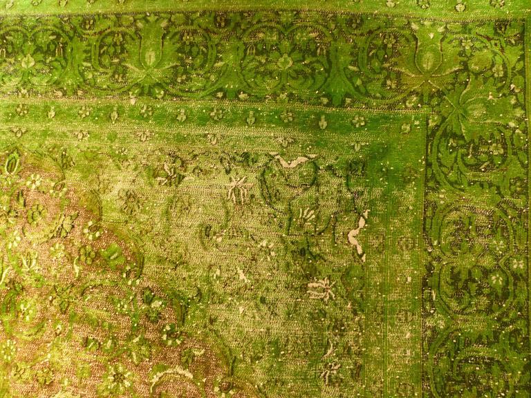 Rug Green Chlorophyll  Vintage Carpet Oversized Large Redyed Circa 1970 9