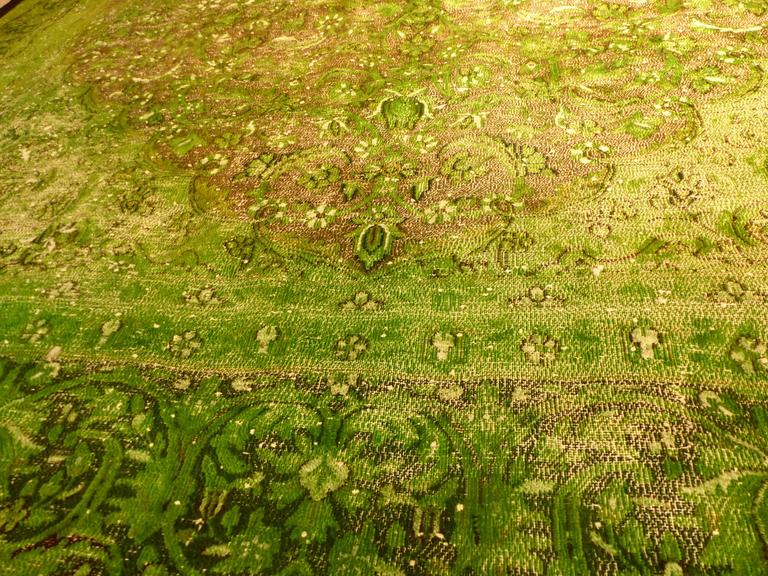 Rug Green Chlorophyll  Vintage Carpet Oversized Large Redyed Circa 1970 10