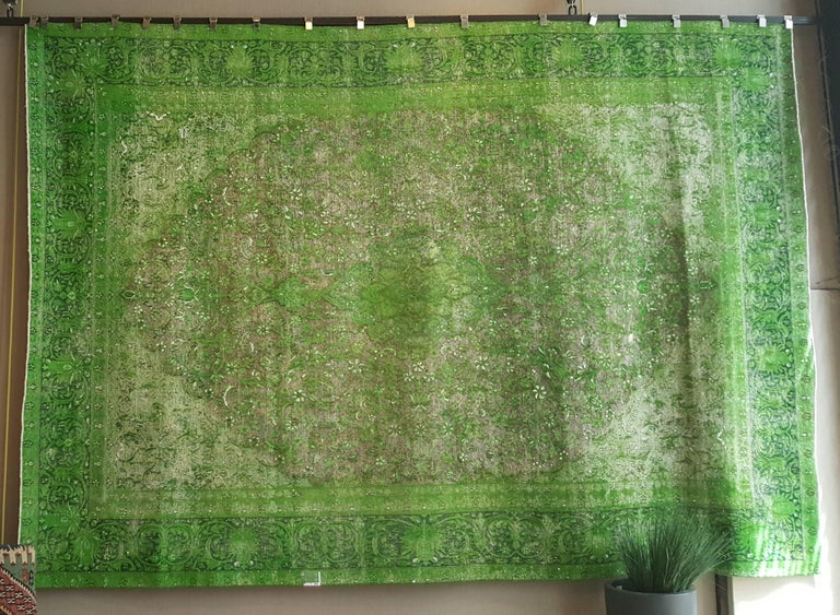 Rug Green Chlorophyll  Vintage Carpet Oversized Large Redyed Circa 1970 2
