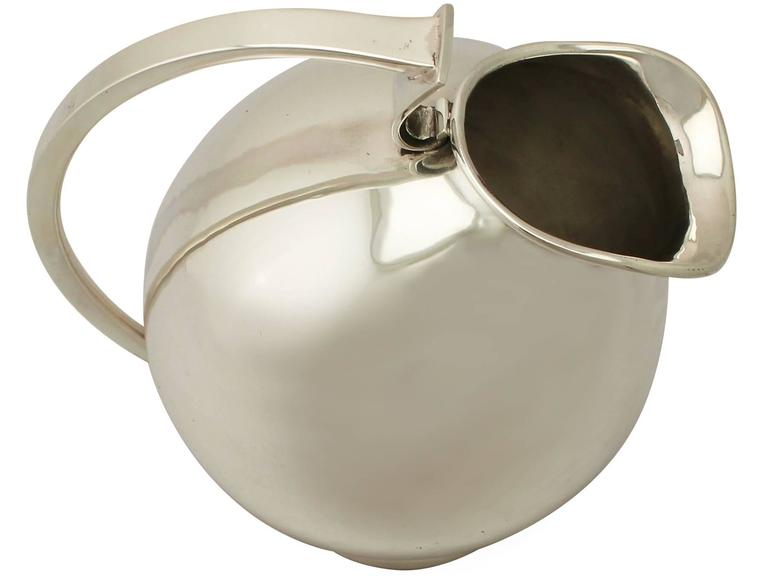 Vintage Design Style, Continental Sterling Silver Water Jug For Sale 1