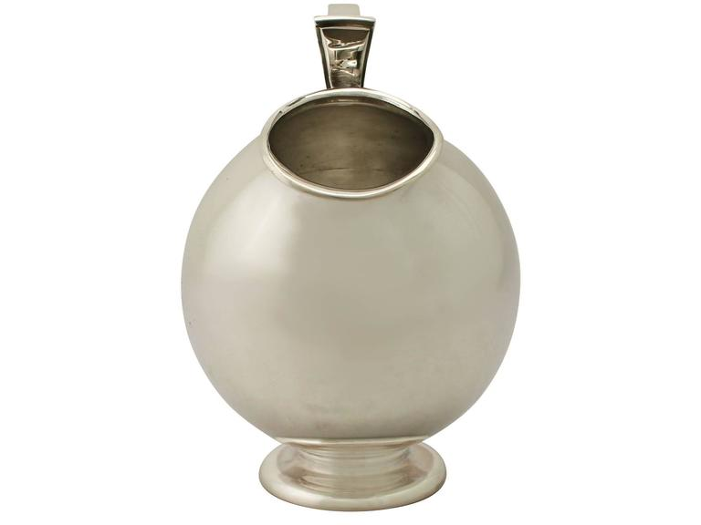 European Vintage Design Style, Continental Sterling Silver Water Jug For Sale