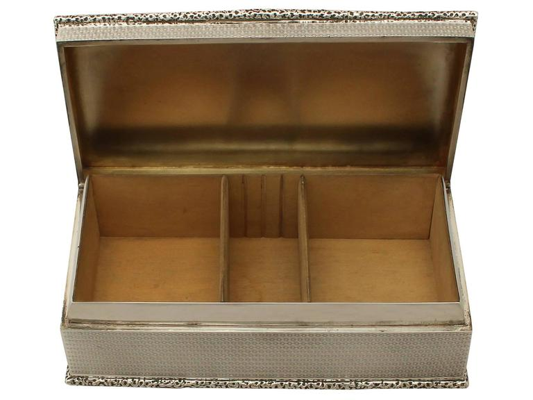 Early 20th Century Antique Sterling Silver Cigarette Box For Sale