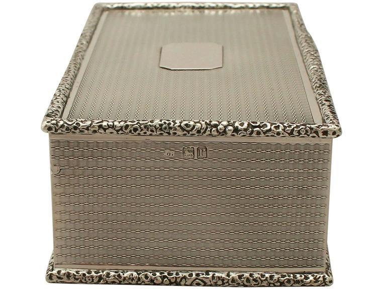 English Antique Sterling Silver Cigarette Box For Sale