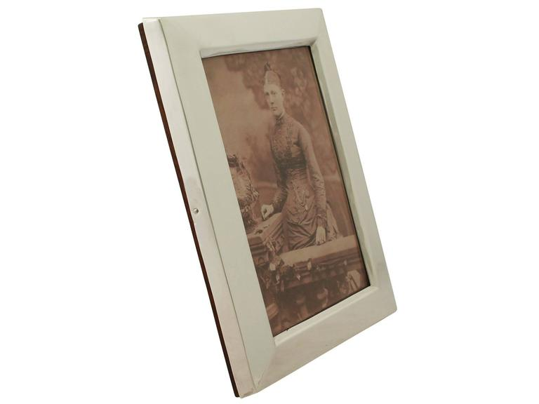 English Antique Victorian Sterling Silver Photograph Frame For Sale