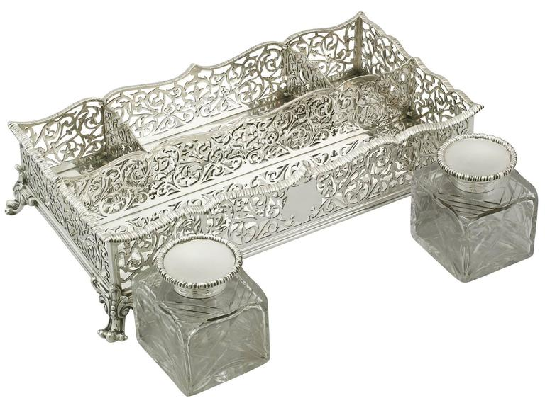 English Antique Victorian Sterling Silver Gallery Inkstand For Sale