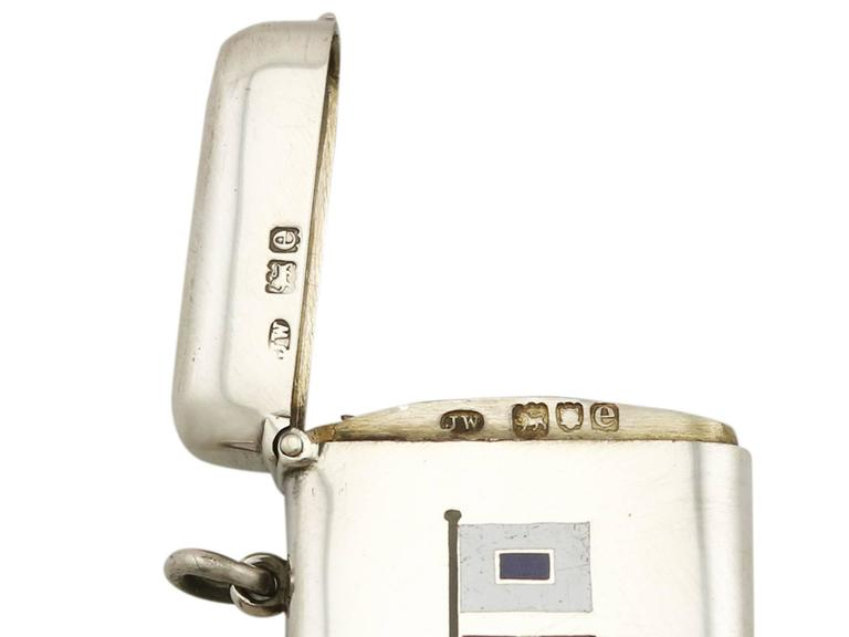 1900s Antique Victorian Sterling Silver and Enamel Flag Vesta Case For Sale 3