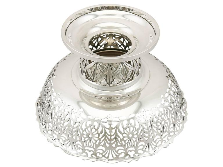 1920s Antique Sterling Silver Centerpiece / Fruit Bowl For Sale 4