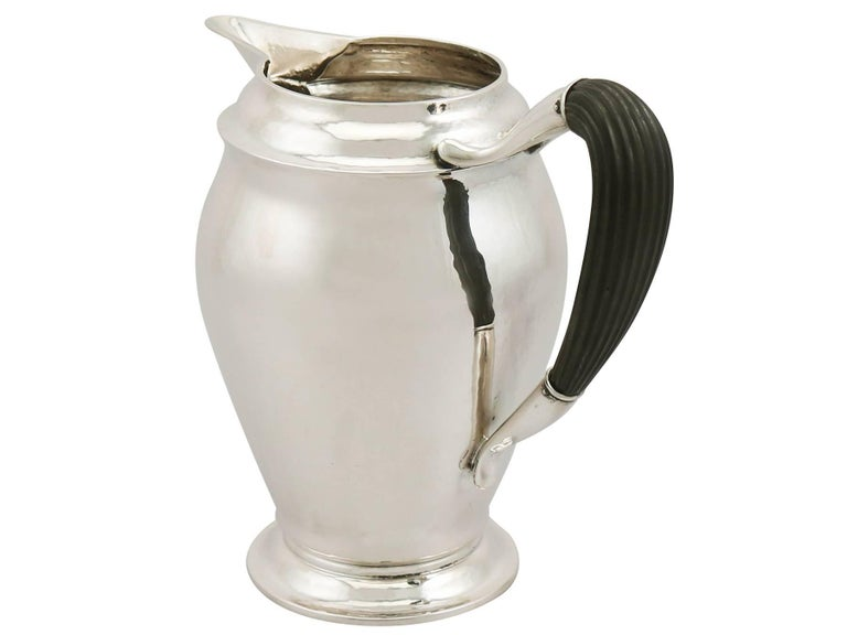Early 20th Century 1920s Danish Silver Water Jug- Art Nouveau Style For Sale