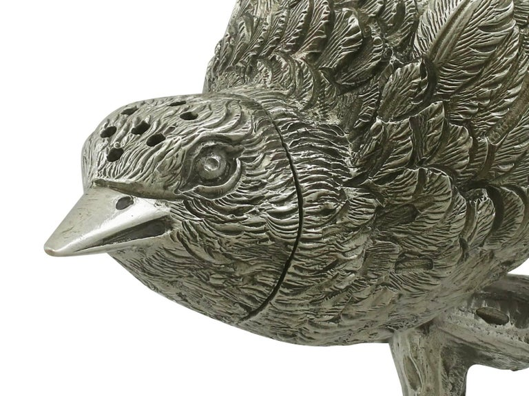 1880s Antique Victorian Sterling Silver 'Bird' Pepperette For Sale 3