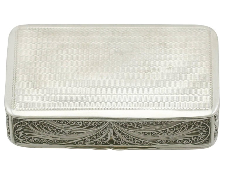 An exceptional, fine and impressive unusual antique Victorian English sterling silver filigree box; an addition to our ornamental silverware collection.
