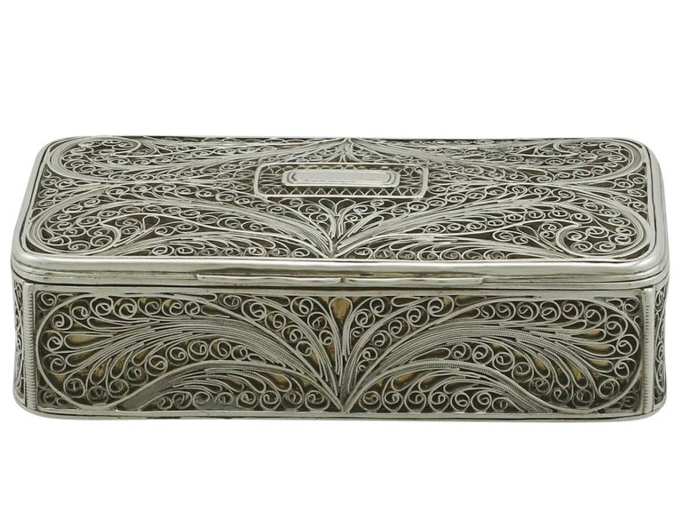 British Antique Victorian Sterling Silver Filigree Box For Sale