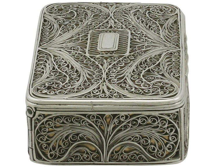 Antique Victorian Sterling Silver Filigree Box In Excellent Condition For Sale In Jesmond, Newcastle Upon Tyne