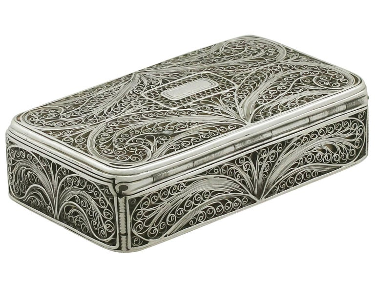 Mid-19th Century Antique Victorian Sterling Silver Filigree Box For Sale