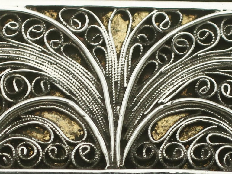 Antique Victorian Sterling Silver Filigree Box For Sale 5