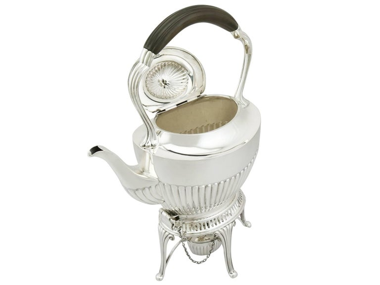 1900s Antique Edwardian Sterling Silver Spirit Tea Kettle in Queen Anne Style For Sale 1