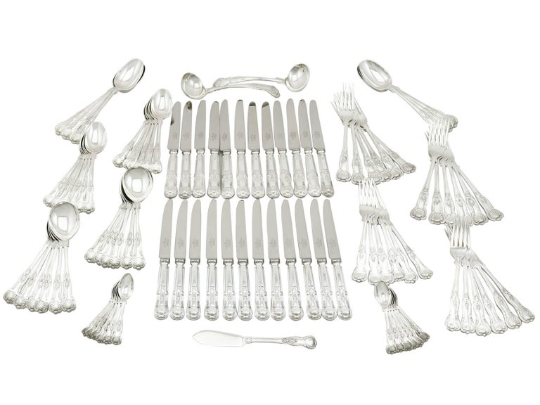 1920s Sterling Silver Canteen of Cutlery for 12 Persons For Sale 5