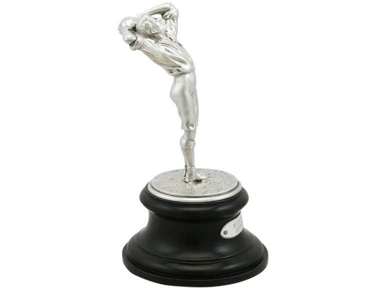 English 1910s Antique Edwardian Sterling Silver Football Presentation Trophy For Sale
