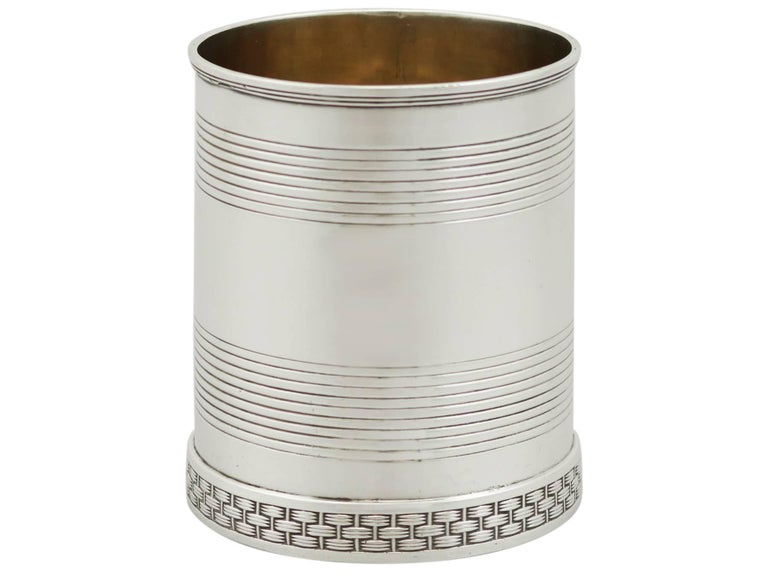 An exceptional, fine and impressive antique George III English sterling silver christening mug; an addition to AC Silver's christening gifts silverware collection.