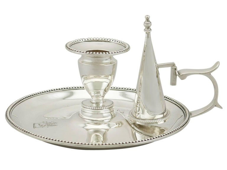 English Antique Victorian Sterling Silver Chambersticks, 1863 For Sale