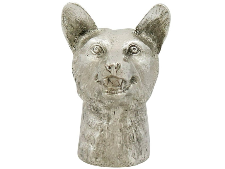 English 1960 Vintage Sterling Silver 'Fox' Lighter For Sale