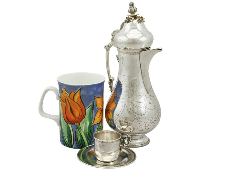 An exceptional, fine and impressive antique Turkish silver coffee service with matching tray; an addition to our silver teaware collection  This exceptional antique Turkish silver coffee set consists of a coffee jug, and six cups with saucers, in