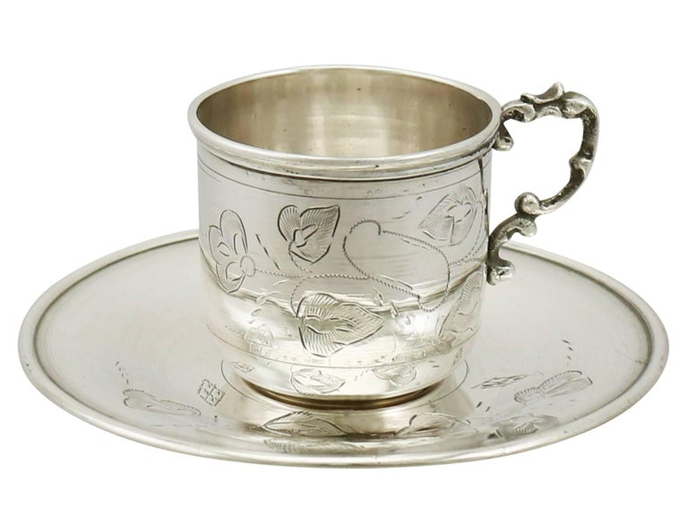20th Century 1900s Turkish Silver Coffee Service with Tray For Sale