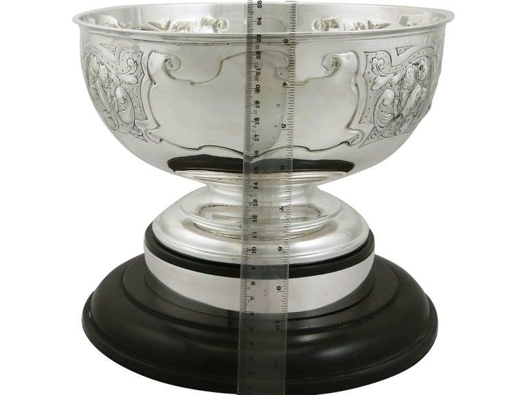 Antique Edwardian Sterling Silver Presentation Bowl by James Deakin & Sons For Sale 5