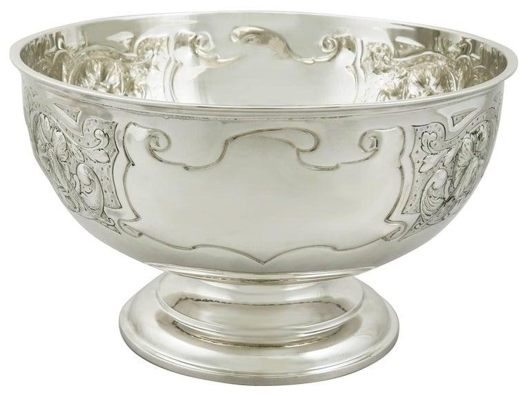 Antique Edwardian Sterling Silver Presentation Bowl by James Deakin & Sons For Sale 1