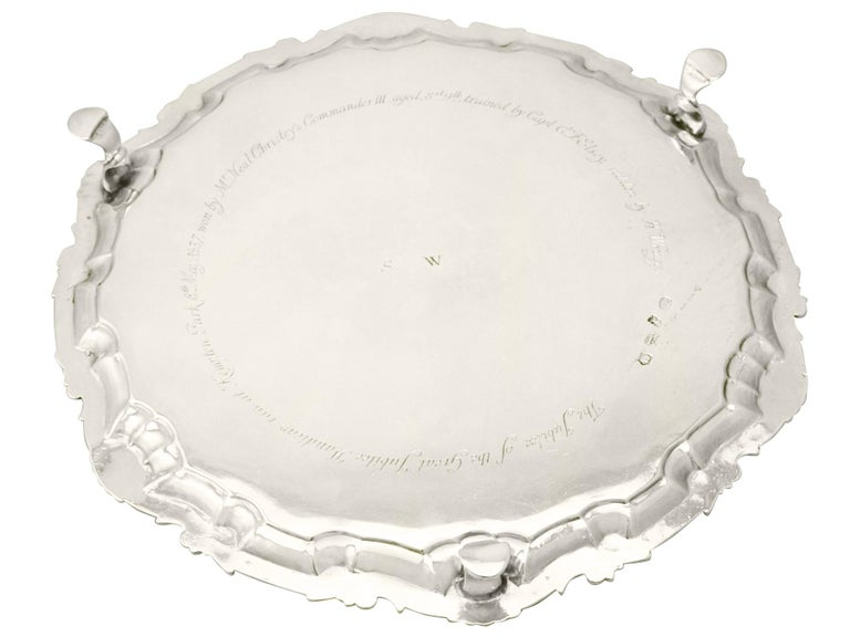 George III Sterling Silver Salver by John Payne For Sale 3