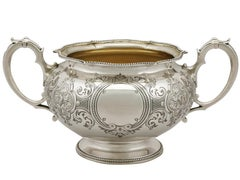1856 Antique Victorian Sterling Silver Sugar Bowl