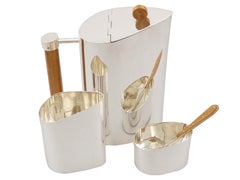 Contemporary Sterling Silver Three Piece Tea Service
